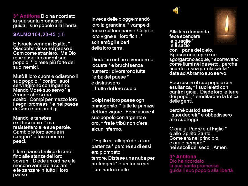 2^ Antifona Il Signore non ha abbandonato il giusto tradito, ma lo ha salvato dai peccatori. SALMO 104, 16-22 (II) Dio è fedele alle sue promesse Essi