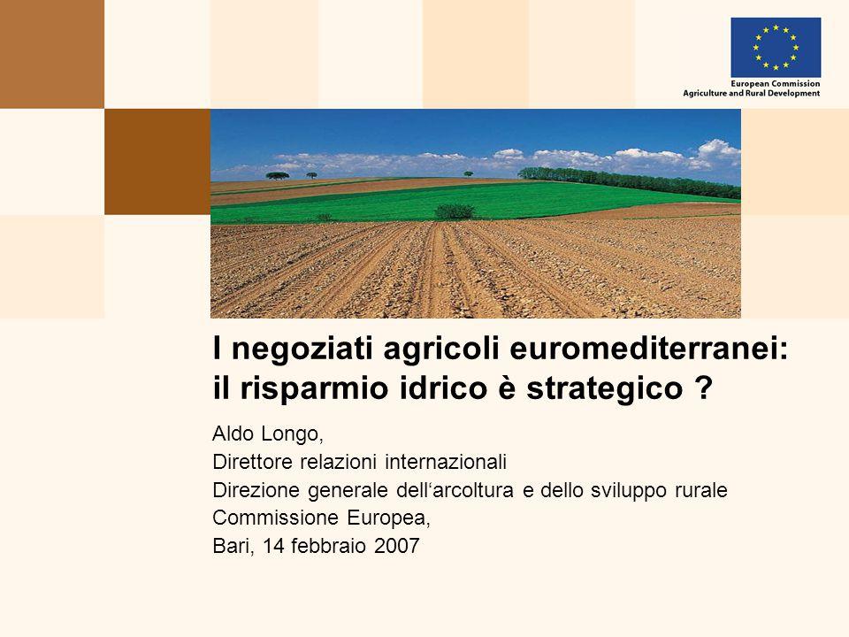 Aldo Longo, Direttore relazioni internazionali Direzione generale dell'arcoltura e dello sviluppo rurale Commissione Europea, Bari, 14 febbraio 2007 I negoziati agricoli euromediterranei: il risparmio idrico è strategico