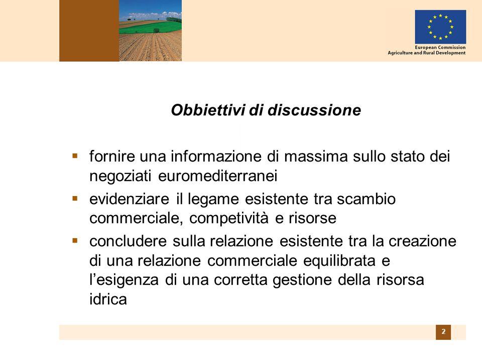 2 Obbiettivi di discussione  fornire una informazione di massima sullo stato dei negoziati euromediterranei  evidenziare il legame esistente tra scambio commerciale, competività e risorse  concludere sulla relazione esistente tra la creazione di una relazione commerciale equilibrata e l'esigenza di una corretta gestione della risorsa idrica