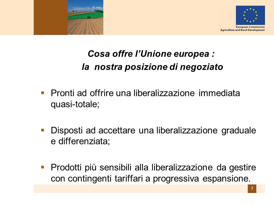7 Cosa offre l'Unione europea : la nostra posizione di negoziato  Pronti ad offrire una liberalizzazione immediata quasi-totale;  Disposti ad accettare una liberalizzazione graduale e differenziata;  Prodotti più sensibili alla liberalizzazione da gestire con contingenti tariffari a progressiva espansione.