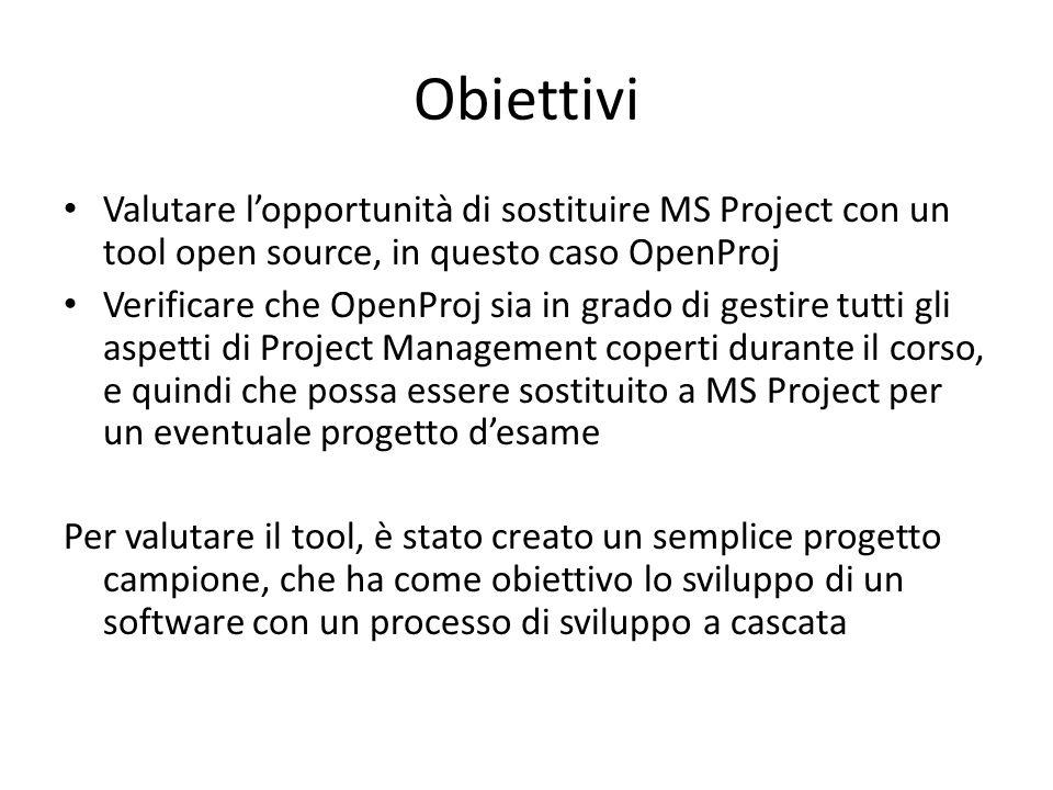 Obiettivi Valutare l'opportunità di sostituire MS Project con un tool open source, in questo caso OpenProj Verificare che OpenProj sia in grado di ges