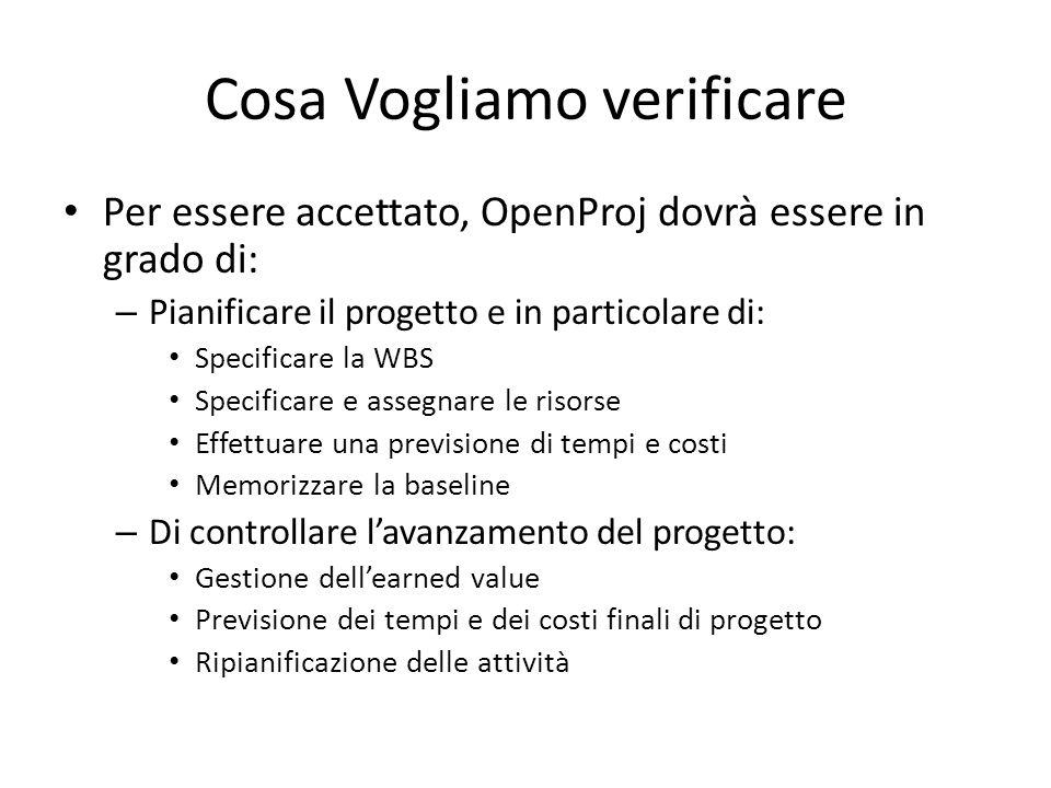 Cosa Vogliamo verificare Per essere accettato, OpenProj dovrà essere in grado di: – Pianificare il progetto e in particolare di: Specificare la WBS Sp