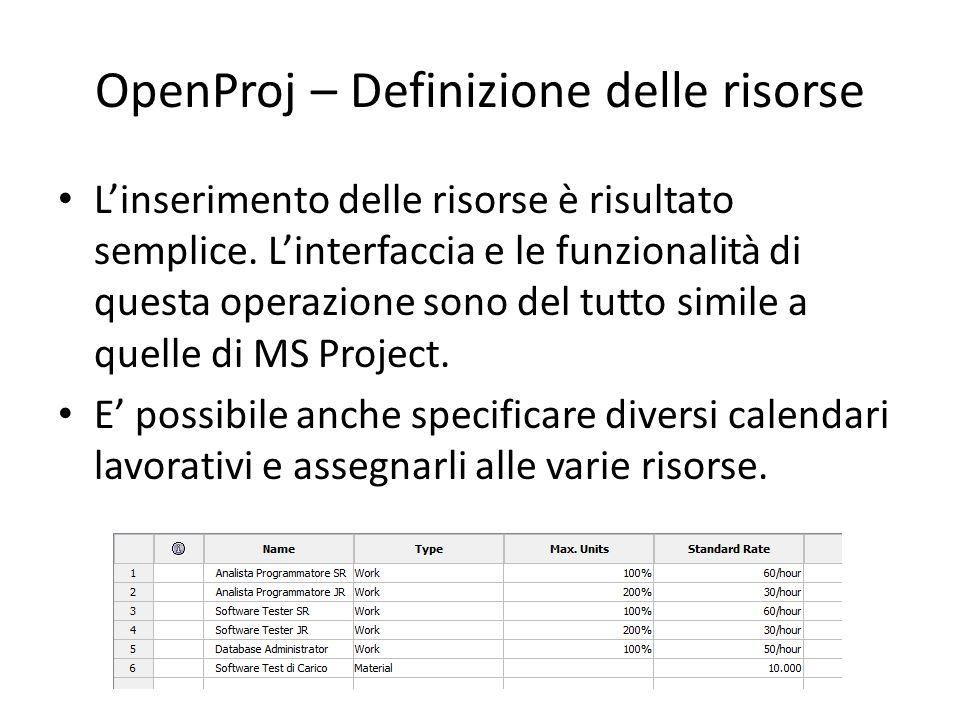 OpenProj – Definizione delle risorse L'inserimento delle risorse è risultato semplice. L'interfaccia e le funzionalità di questa operazione sono del t