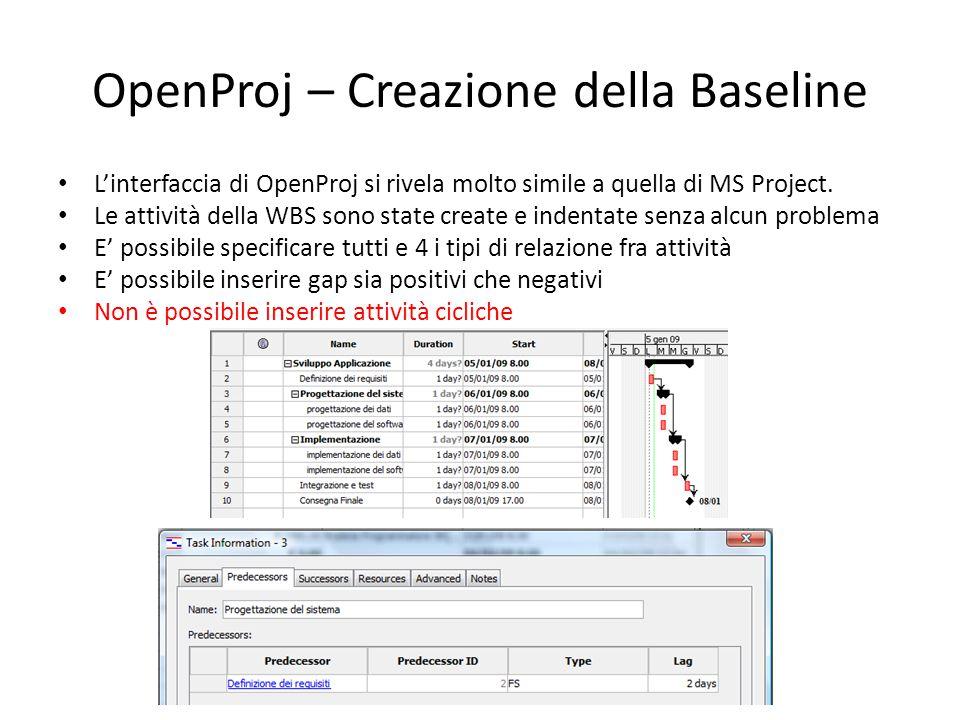 OpenProj – Creazione della Baseline L'interfaccia di OpenProj si rivela molto simile a quella di MS Project. Le attività della WBS sono state create e