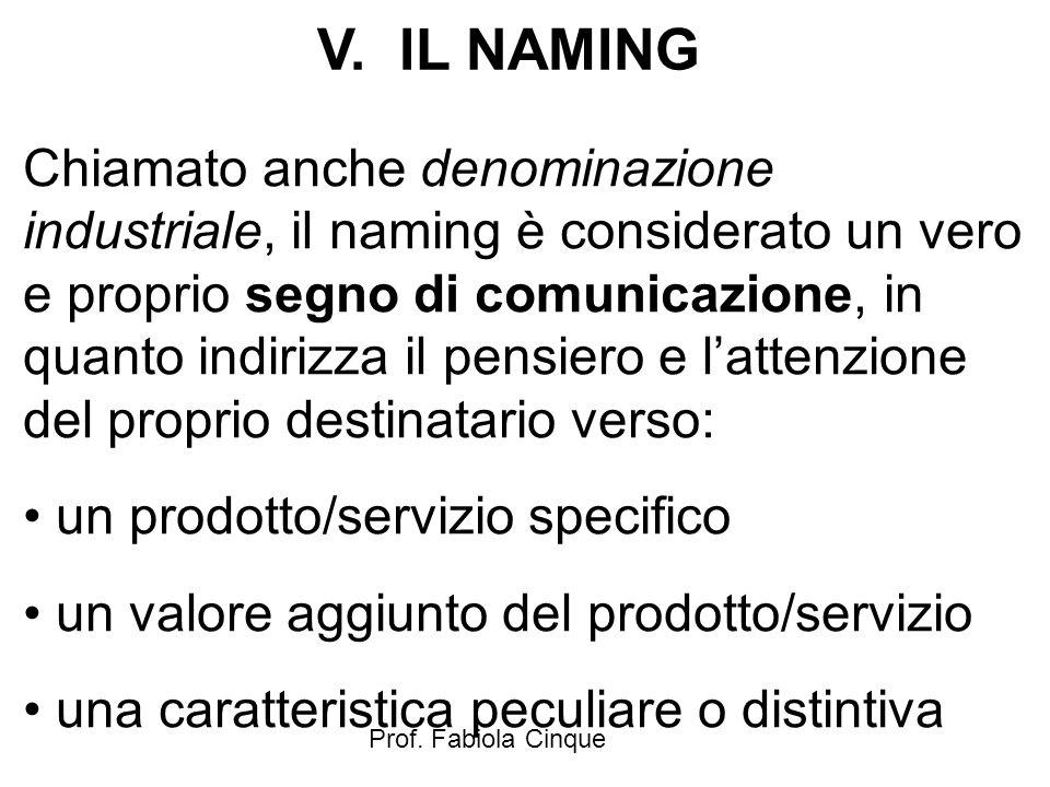 Prof. Fabiola Cinque V. IL NAMING Chiamato anche denominazione industriale, il naming è considerato un vero e proprio segno di comunicazione, in quant