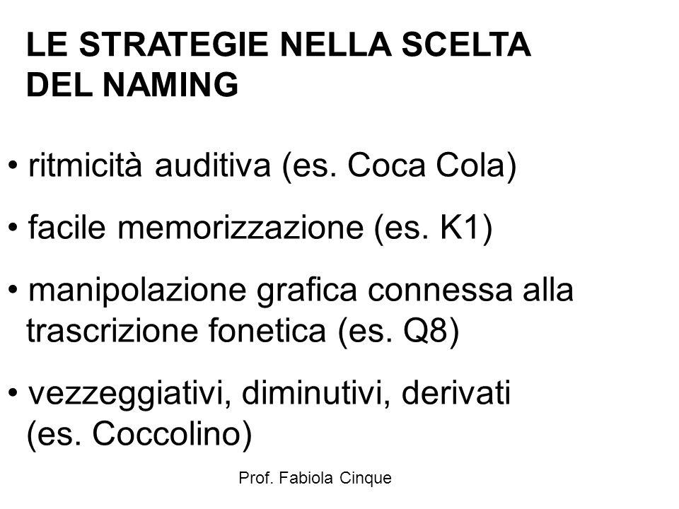 Prof. Fabiola Cinque LE STRATEGIE NELLA SCELTA DEL NAMING ritmicità auditiva (es. Coca Cola) facile memorizzazione (es. K1) manipolazione grafica conn
