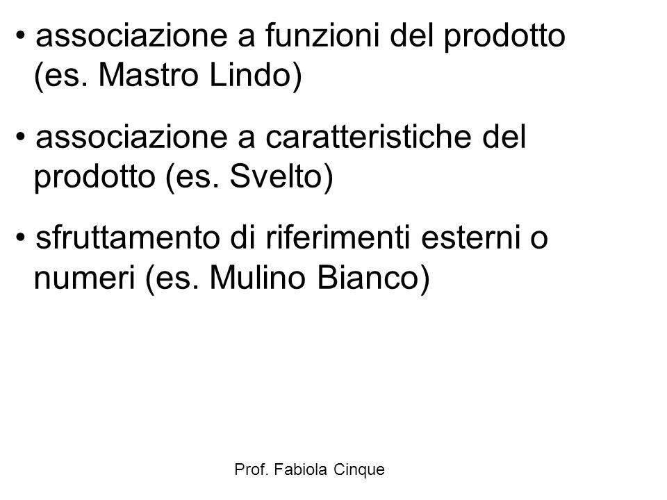 Prof. Fabiola Cinque associazione a funzioni del prodotto (es. Mastro Lindo) associazione a caratteristiche del prodotto (es. Svelto) sfruttamento di