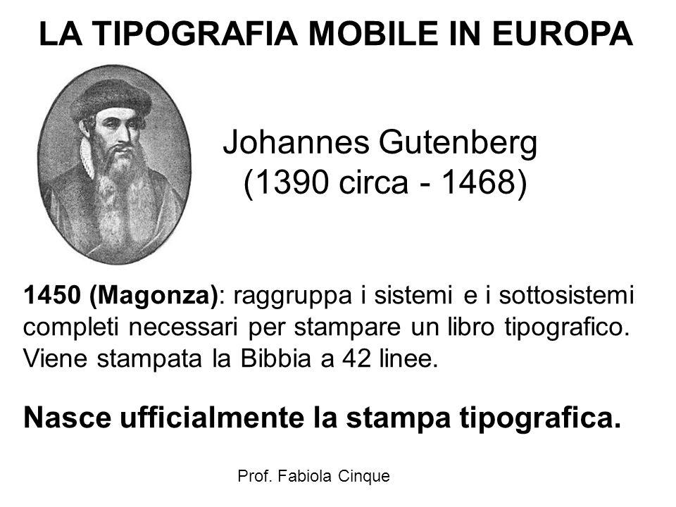 Prof. Fabiola Cinque LA TIPOGRAFIA MOBILE IN EUROPA 1450 (Magonza): raggruppa i sistemi e i sottosistemi completi necessari per stampare un libro tipo