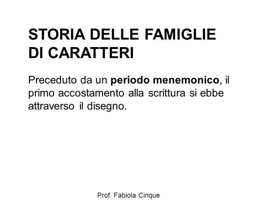 Prof. Fabiola Cinque STORIA DELLE FAMIGLIE DI CARATTERI Preceduto da un periodo menemonico, il primo accostamento alla scrittura si ebbe attraverso il
