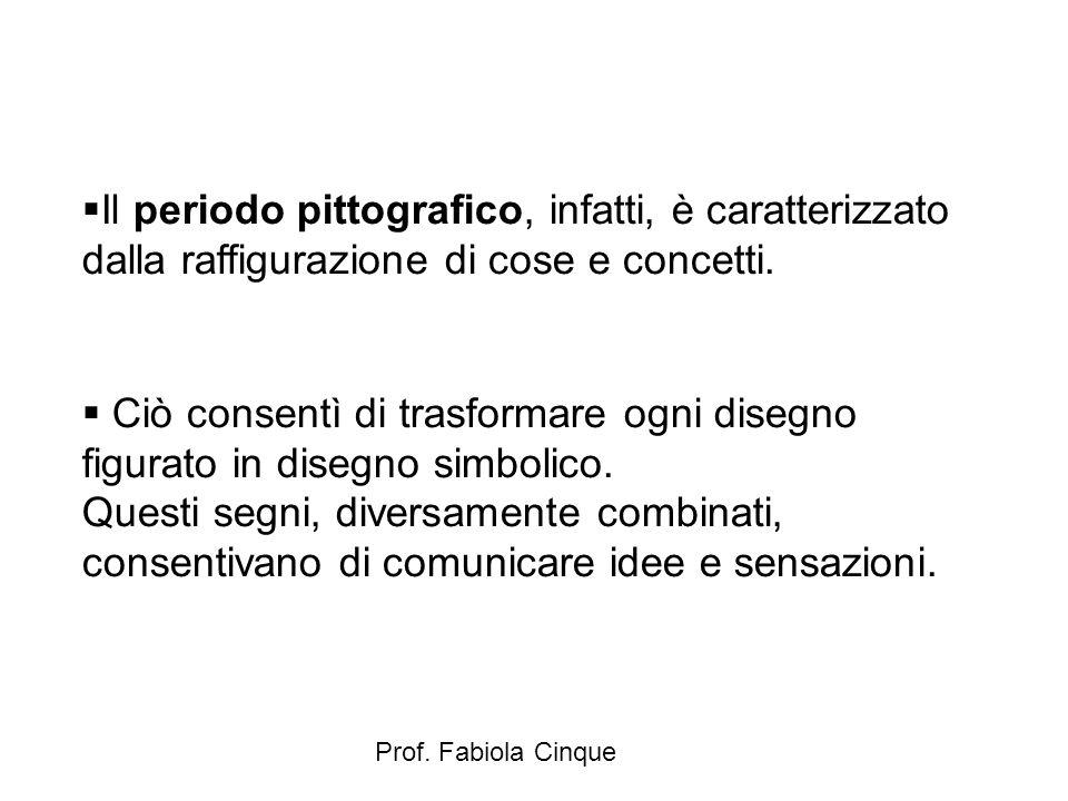 Prof. Fabiola Cinque  Il periodo pittografico, infatti, è caratterizzato dalla raffigurazione di cose e concetti.  Ciò consentì di trasformare ogni