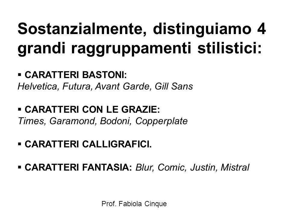 Prof. Fabiola Cinque Sostanzialmente, distinguiamo 4 grandi raggruppamenti stilistici:  CARATTERI BASTONI: Helvetica, Futura, Avant Garde, Gill Sans
