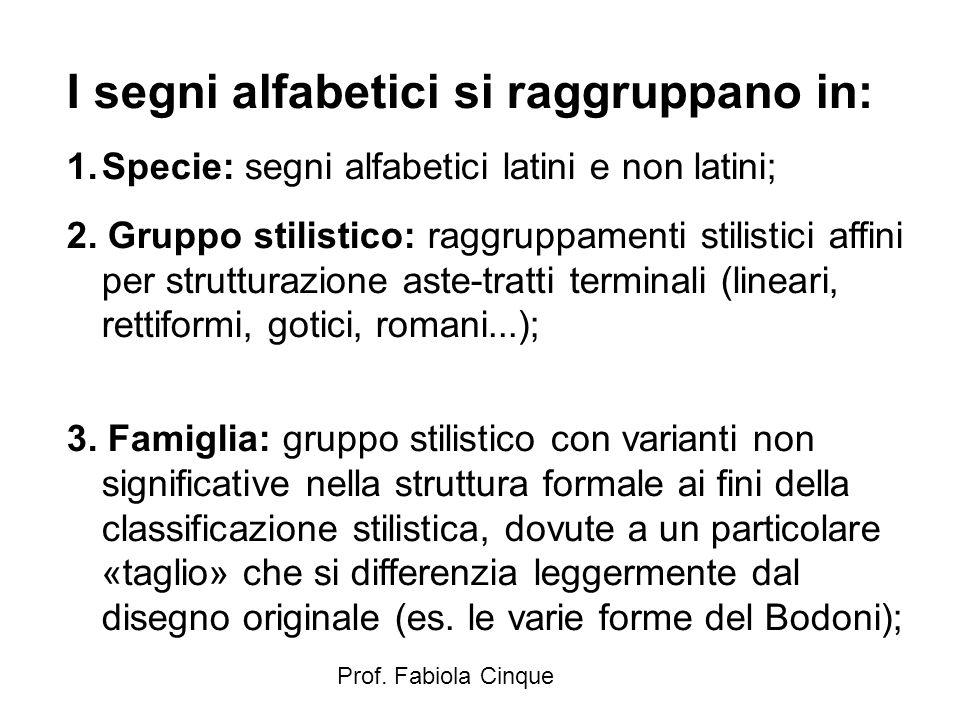 Prof. Fabiola Cinque I segni alfabetici si raggruppano in: 1.Specie: segni alfabetici latini e non latini; 2. Gruppo stilistico: raggruppamenti stilis