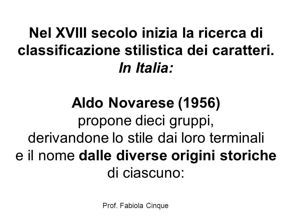 Prof. Fabiola Cinque Nel XVIII secolo inizia la ricerca di classificazione stilistica dei caratteri. In Italia: Aldo Novarese (1956) propone dieci gru