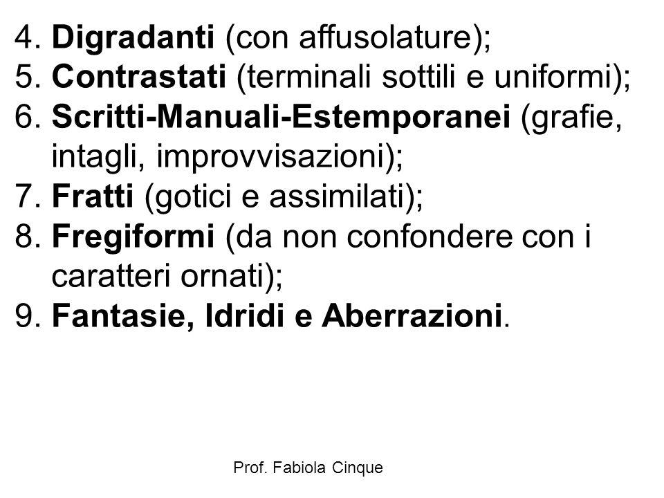 Prof. Fabiola Cinque 4. Digradanti (con affusolature); 5. Contrastati (terminali sottili e uniformi); 6. Scritti-Manuali-Estemporanei (grafie, intagli