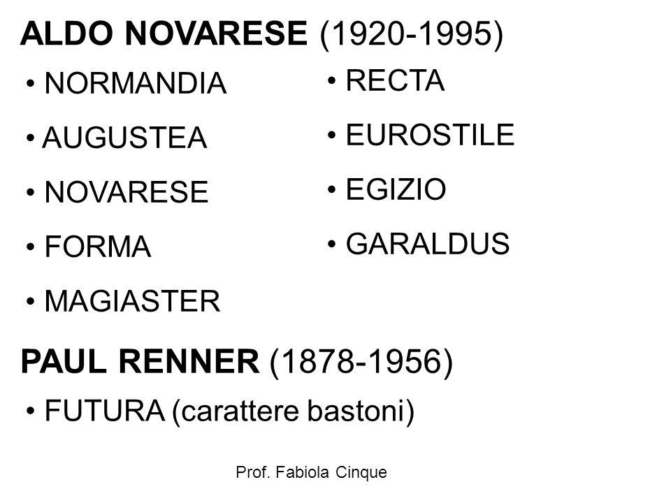 Prof. Fabiola Cinque ALDO NOVARESE (1920-1995) NORMANDIA AUGUSTEA NOVARESE FORMA MAGIASTER RECTA EUROSTILE EGIZIO GARALDUS PAUL RENNER (1878-1956) FUT