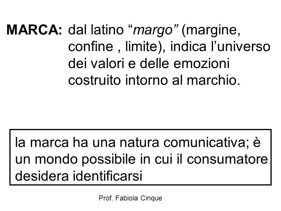 """Prof. Fabiola Cinque MARCA: dal latino """"margo"""" (margine, confine, limite), indica l'universo dei valori e delle emozioni costruito intorno al marchio."""