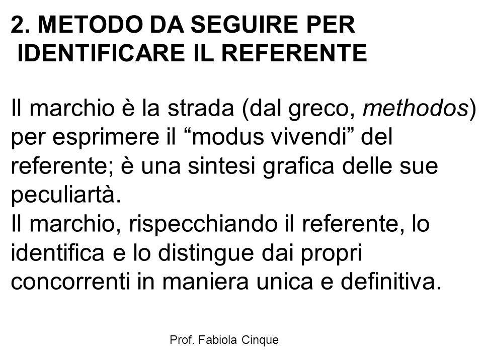 """Prof. Fabiola Cinque 2. METODO DA SEGUIRE PER IDENTIFICARE IL REFERENTE Il marchio è la strada (dal greco, methodos) per esprimere il """"modus vivendi"""""""
