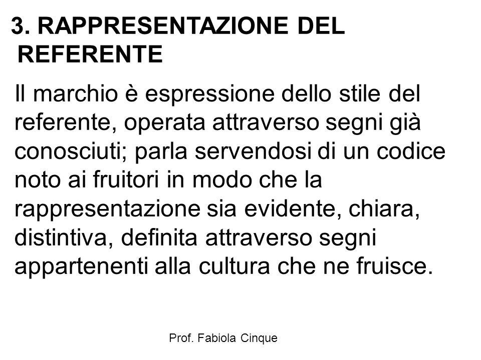 Prof. Fabiola Cinque 3. RAPPRESENTAZIONE DEL REFERENTE Il marchio è espressione dello stile del referente, operata attraverso segni già conosciuti; pa