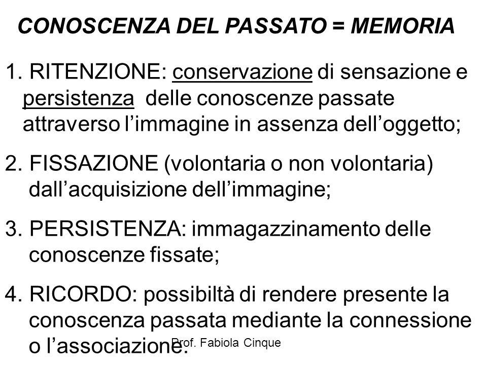 Prof. Fabiola Cinque CONOSCENZA DEL PASSATO = MEMORIA 1. RITENZIONE: conservazione di sensazione e persistenza delle conoscenze passate attraverso l'i