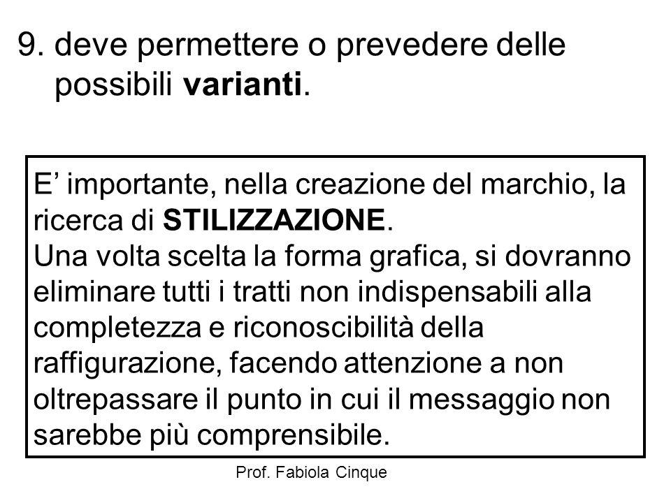 Prof. Fabiola Cinque 9. deve permettere o prevedere delle possibili varianti. E' importante, nella creazione del marchio, la ricerca di STILIZZAZIONE.