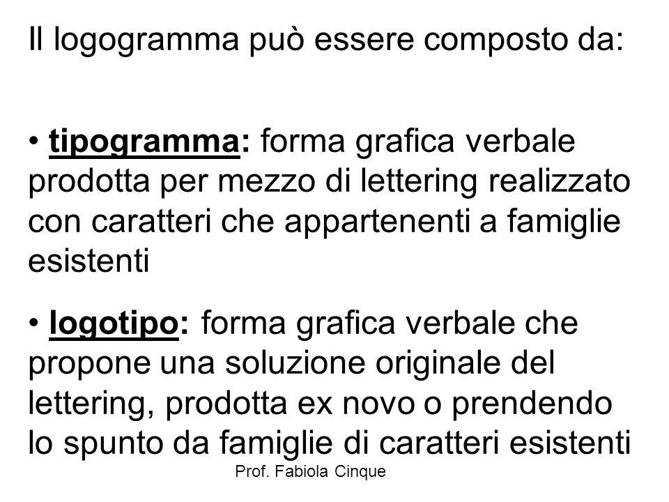 Prof. Fabiola Cinque Il logogramma può essere composto da: tipogramma: forma grafica verbale prodotta per mezzo di lettering realizzato con caratteri