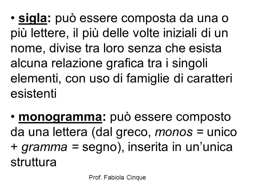 Prof. Fabiola Cinque sigla: può essere composta da una o più lettere, il più delle volte iniziali di un nome, divise tra loro senza che esista alcuna