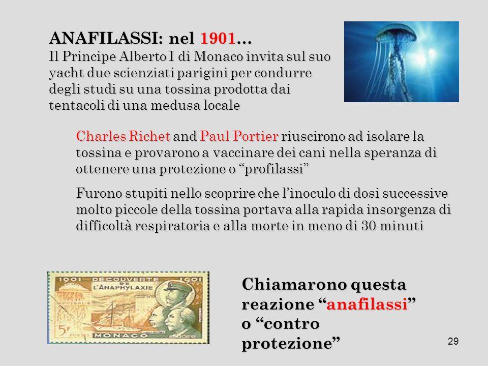 """29 Charles Richet and Paul Portier riuscirono ad isolare la tossina e provarono a vaccinare dei cani nella speranza di ottenere una protezione o """"prof"""