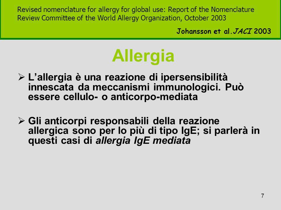 7 Allergia  L'allergia è una reazione di ipersensibilità innescata da meccanismi immunologici. Può essere cellulo- o anticorpo-mediata  Gli anticorp