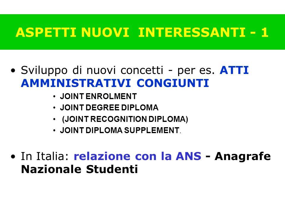 ASPETTI NUOVI INTERESSANTI - 1 Sviluppo di nuovi concetti - per es.
