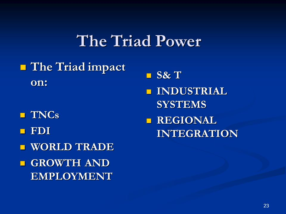23 The Triad Power The Triad impact on: The Triad impact on: TNCs TNCs FDI FDI WORLD TRADE WORLD TRADE GROWTH AND EMPLOYMENT GROWTH AND EMPLOYMENT S& T S& T INDUSTRIAL SYSTEMS INDUSTRIAL SYSTEMS REGIONAL INTEGRATION REGIONAL INTEGRATION