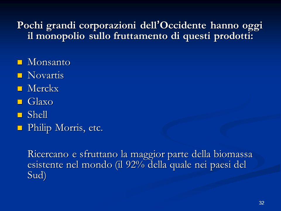 32 Pochi grandi corporazioni dell ' Occidente hanno oggi il monopolio sullo fruttamento di questi prodotti: Monsanto Monsanto Novartis Novartis Merckx Merckx Glaxo Glaxo Shell Shell Philip Morris, etc.