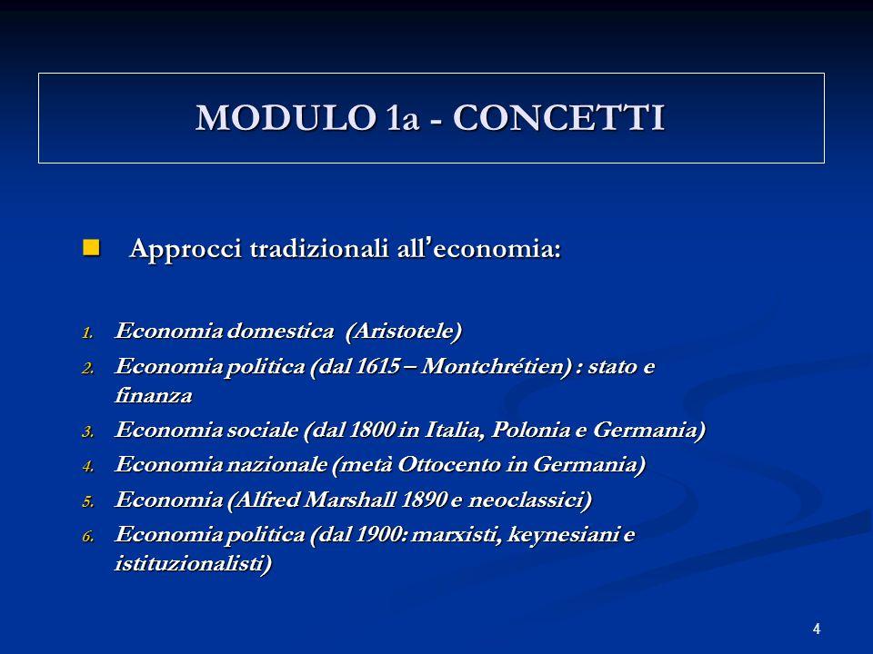 4 MODULO 1a - CONCETTI Approcci tradizionali all ' economia: Approcci tradizionali all ' economia: 1.