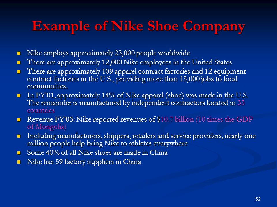52 Example of Nike Shoe Company Nike employs approximately 23,000 people worldwide Nike employs approximately 23,000 people worldwide There are approximately 12,000 Nike employees in the United States There are approximately 12,000 Nike employees in the United States There are approximately 109 apparel contract factories and 12 equipment contract factories in the U.S., providing more than 13,000 jobs to local communities.