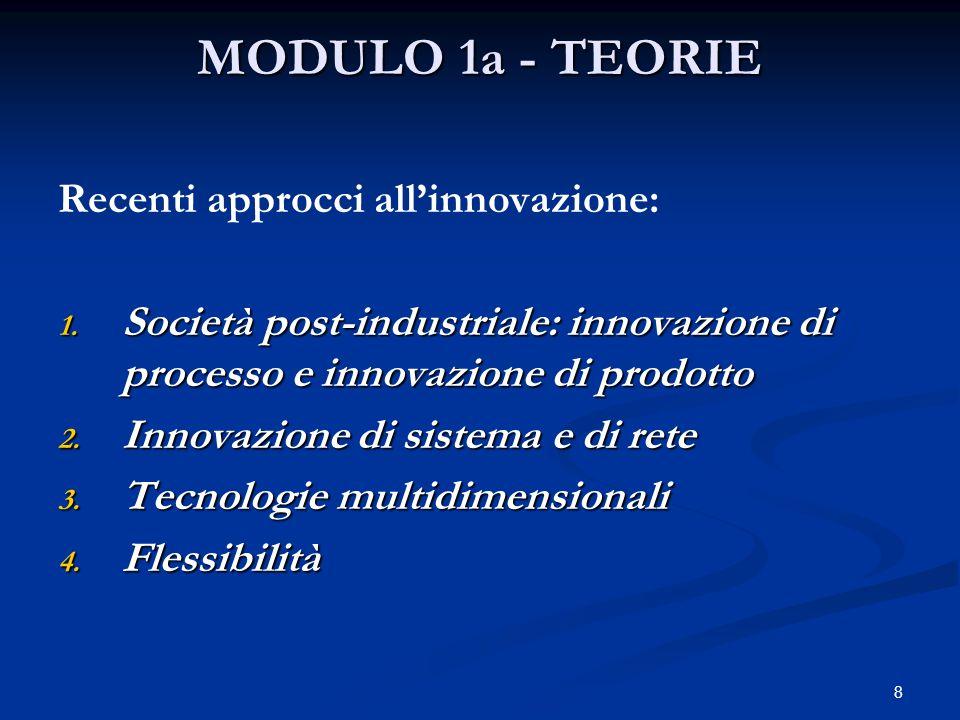 8 MODULO 1a - TEORIE Recenti approcci all'innovazione: 1.