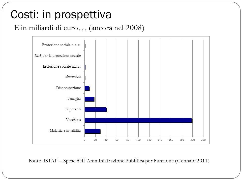 Costi: in prospettiva Fonte: ISTAT – Spese dell'Amministrazione Pubblica per Funzione (Gennaio 2011) E in miliardi di euro… (ancora nel 2008)