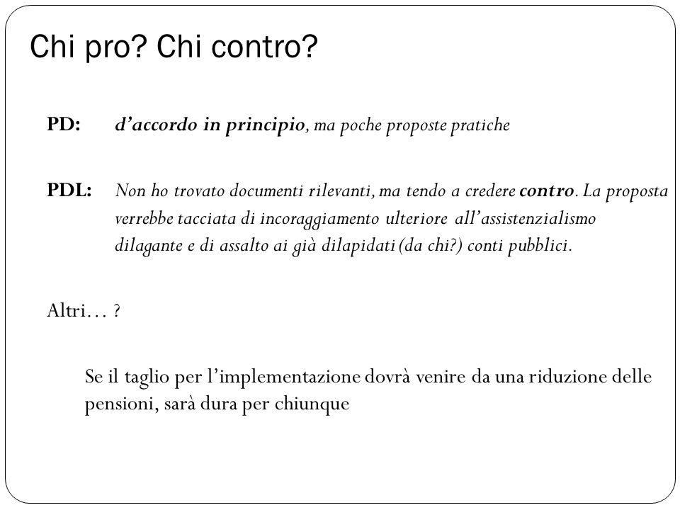 Chi pro? Chi contro? PD: d'accordo in principio, ma poche proposte pratiche PDL: Non ho trovato documenti rilevanti, ma tendo a credere contro. La pro