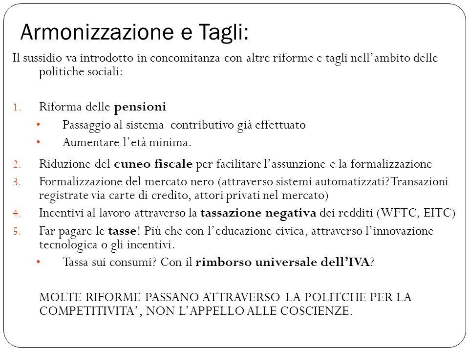 Armonizzazione e Tagli: Il sussidio va introdotto in concomitanza con altre riforme e tagli nell'ambito delle politiche sociali: 1.