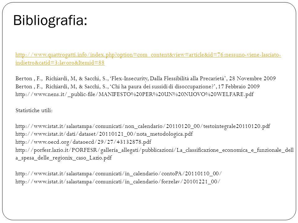 Bibliografia: http://www.quattrogatti.info/index.php option=com_content&view=article&id=76:nessuno-viene-lasciato- indietro&catid=3:lavoro&Itemid=88 Berton, F., Richiardi, M, & Sacchi, S., 'Flex-Insecurity, Dalla Flessibilità alla Precarietà', 28 Novembre 2009 Berton, F., Richiardi, M, & Sacchi, S., 'Chi ha paura dei sussidi di disoccupazione ', 17 Febbraio 2009 http://www.nens.it/_public-file/MANIFESTO%20PER%20UN%20NUOVO%20WELFARE.pdf Statistiche utili: http://www.istat.it/salastampa/comunicati/non_calendario/20110120_00/testointegrale20110120.pdf http://www.istat.it/dati/dataset/20110121_00/nota_metodologica.pdf http://www.oecd.org/dataoecd/29/27/43132878.pdf http://porfesr.lazio.it/PORFESR/galleria_allegati/pubblicazioni/La_classificazione_economica_e_funzionale_dell a_spesa_delle_regionix_caso_Lazio.pdf http://www.istat.it/salastampa/comunicati/in_calendario/contoPA/20110110_00/ http://www.istat.it/salastampa/comunicati/in_calendario/forzelav/20101221_00/