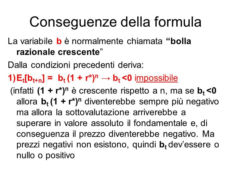 Conseguenze della formula La variabile b è normalmente chiamata bolla razionale crescente Dalla condizioni precedenti deriva: 1)E t [b t+n ] = b t (1 + r*) n → b t <0 impossibile (infatti (1 + r*) n è crescente rispetto a n, ma se b t <0 allora b t (1 + r*) n diventerebbe sempre più negativo ma allora la sottovalutazione arriverebbe a superare in valore assoluto il fondamentale e, di conseguenza il prezzo diventerebbe negativo.