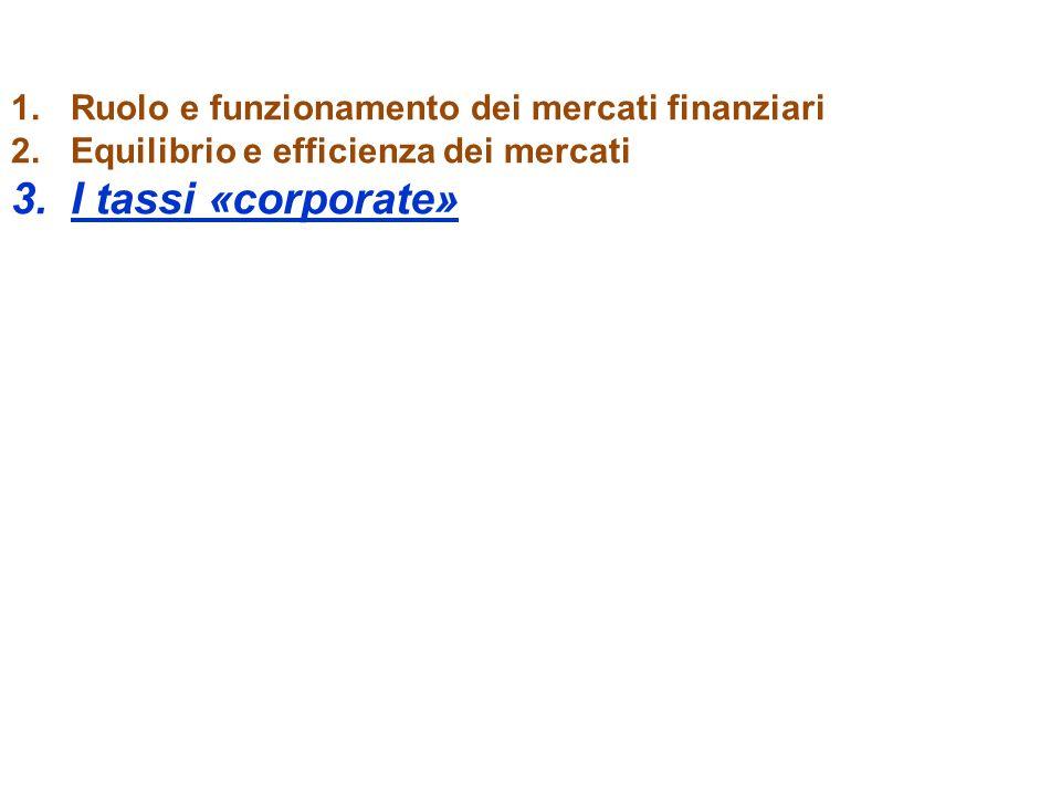 1.Ruolo e funzionamento dei mercati finanziari 2.Equilibrio e efficienza dei mercati 3.I tassi «corporate»