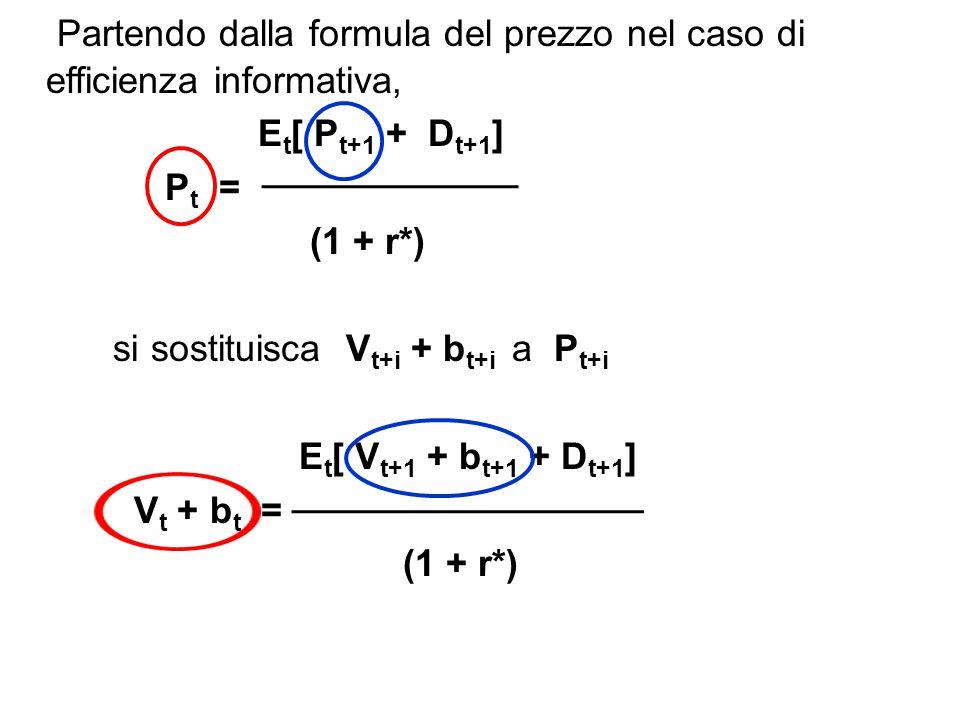 Riordinando i termini a destra dell uguale si può scrivere: E t [b t+1 ] E t [D t+1 ] E t [ V t+i ] V t + b t = + + (1 + r*) (1 + r*) (1 + r*) Ma, dalla definizione di efficienza informativa applicata in t+1 è (1), E t+1 [D t+2 ] E t+1 [D t+3 ] E t+1 [D t+4 ] V t+1 = + + + …..