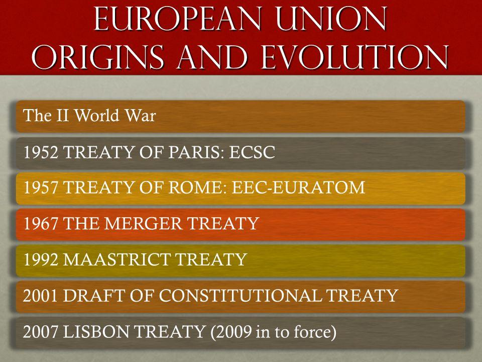 EUROPEAN UNION origins and evolution The II World War1952 TREATY OF PARIS: ECSC1957 TREATY OF ROME: EEC-EURATOM1967 THE MERGER TREATY1992 MAASTRICT TREATY2001 DRAFT OF CONSTITUTIONAL TREATY2007 LISBON TREATY (2009 in to force)