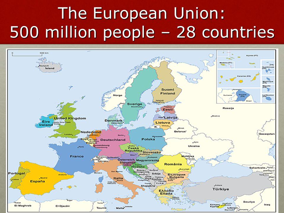 La popolazione dei paesi dell'UE Popolazione in milioni, 2009 Totale 500 milioni 82,1 64,4 61,6 60,1 45,8 38,1 21,5 16,5 11,3 10,8 10,6 10,510,0 9,38,4 7,6 5,6 5,4 5,3 4,5 3,3 2,3 2,0 1,30,80,50,4 Francia Spagna Svezia Polonia Finlandia Italia Regno Unito Romania Grecia Bulgaria Ungheria Belgio Austria Repubblica ceca Irlanda Lituania Lettonia Slovacchia Estonia Danimarca Paesi Bassi Portogallo Slovenia Cipro Lussemburgo Malta Germania