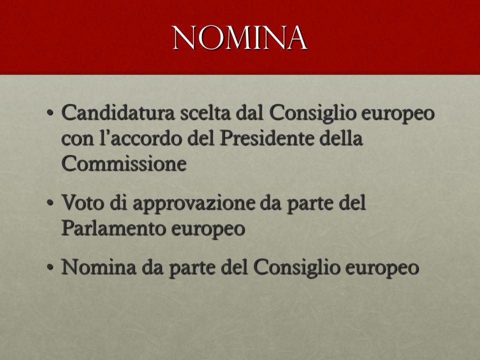 NOMINA Candidatura scelta dal Consiglio europeo con l ' accordo del Presidente della CommissioneCandidatura scelta dal Consiglio europeo con l ' accordo del Presidente della Commissione Voto di approvazione da parte del Parlamento europeoVoto di approvazione da parte del Parlamento europeo Nomina da parte del Consiglio europeoNomina da parte del Consiglio europeo