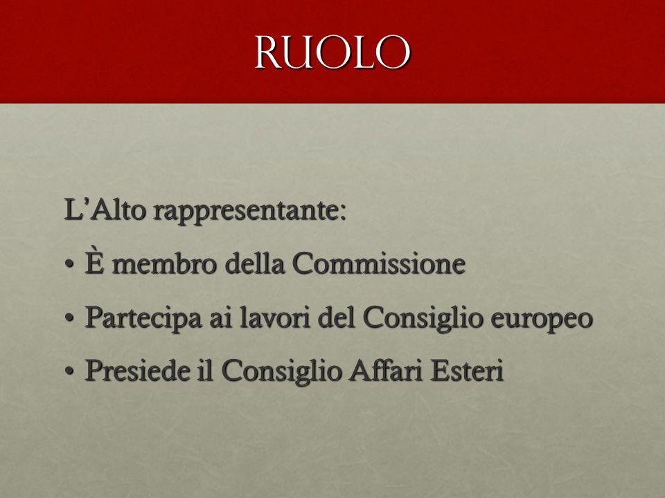 RUOLO L ' Alto rappresentante: È membro della CommissioneÈ membro della Commissione Partecipa ai lavori del Consiglio europeoPartecipa ai lavori del Consiglio europeo Presiede il Consiglio Affari EsteriPresiede il Consiglio Affari Esteri