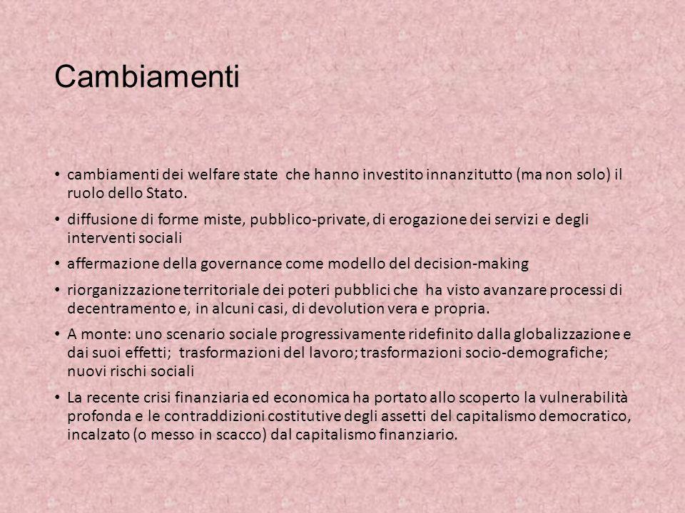 Cambiamenti cambiamenti dei welfare state che hanno investito innanzitutto (ma non solo) il ruolo dello Stato. diffusione di forme miste, pubblico-pri