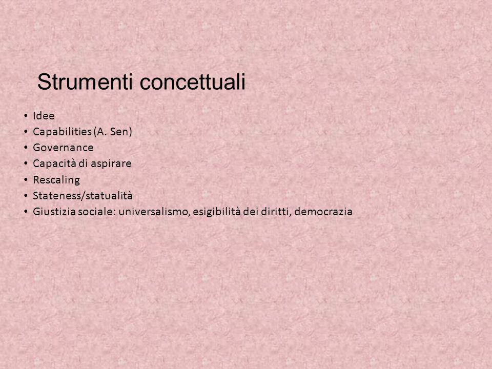 Strumenti concettuali Idee Capabilities (A. Sen) Governance Capacità di aspirare Rescaling Stateness/statualità Giustizia sociale: universalismo, esig