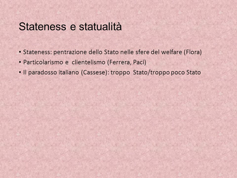 Stateness e statualità Stateness: pentrazione dello Stato nelle sfere del welfare (Flora) Particolarismo e clientelismo (Ferrera, Paci) Il paradosso i