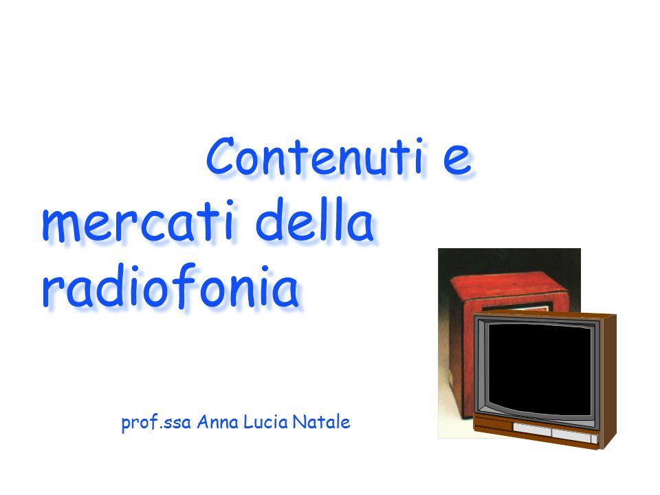 Contenuti e mercati della radiofonia prof.ssa Anna Lucia Natale