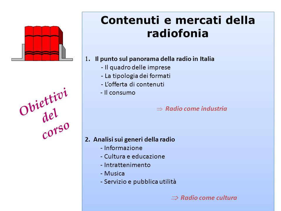 Obiettivi del corso Contenuti e mercati della radiofonia . Il punto sul panorama della radio in Italia - Il quadro delle imprese - La tipologia dei f